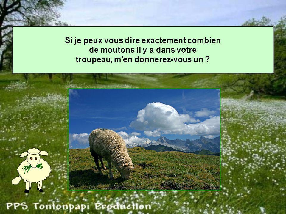 Si je peux vous dire exactement combien de moutons il y a dans votre troupeau, m en donnerez-vous un ?