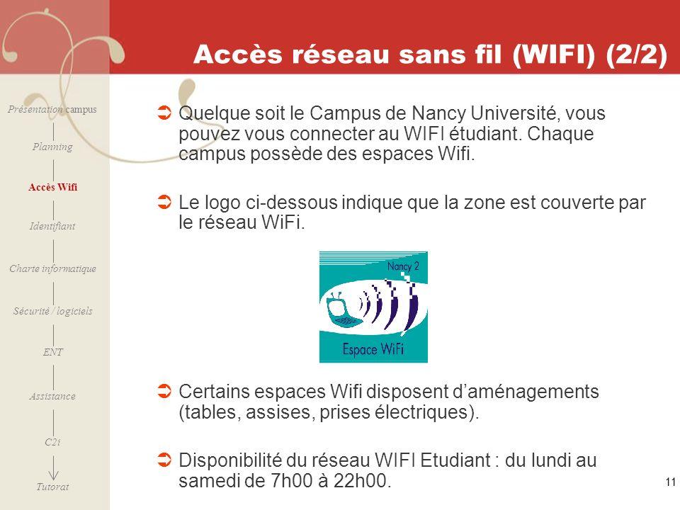 [ 2006 – 2007] 11 Accès réseau sans fil (WIFI) (2/2) Quelque soit le Campus de Nancy Université, vous pouvez vous connecter au WIFI étudiant. Chaque c