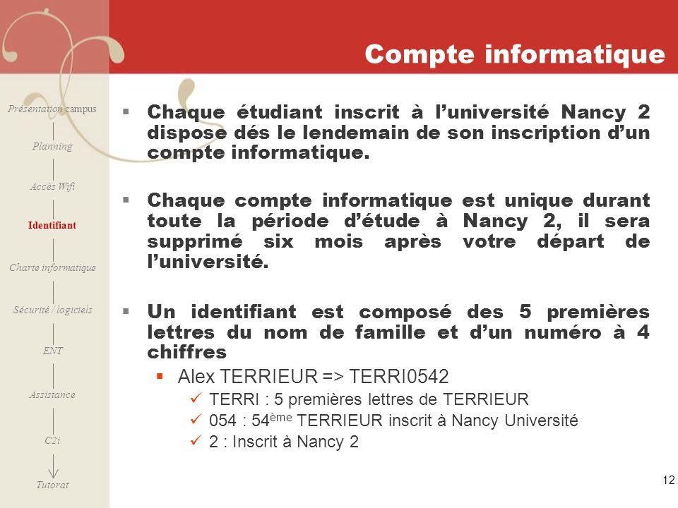 [ 2006 – 2007] 12 Compte informatique Chaque étudiant inscrit à luniversité Nancy 2 dispose dés le lendemain de son inscription dun compte informatiqu