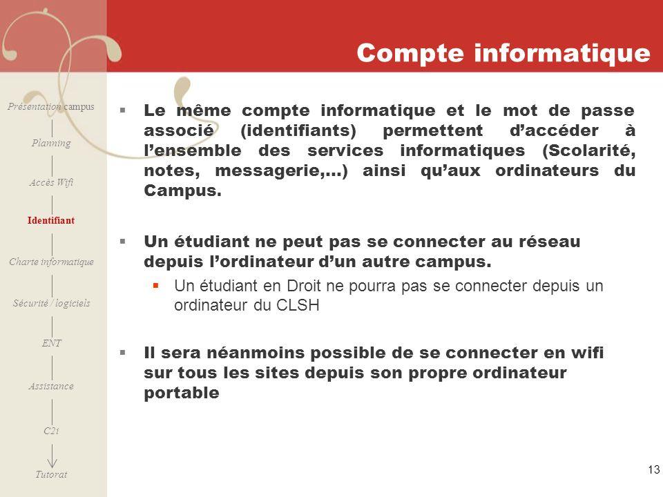 [ 2006 – 2007] Compte informatique Le même compte informatique et le mot de passe associé (identifiants) permettent daccéder à lensemble des services