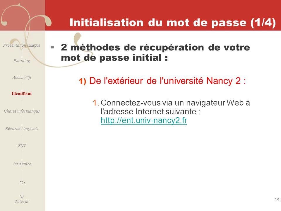 [ 2006 – 2007] 14 Initialisation du mot de passe (1/4) 2 méthodes de récupération de votre mot de passe initial : 1) De l'extérieur de l'université Na