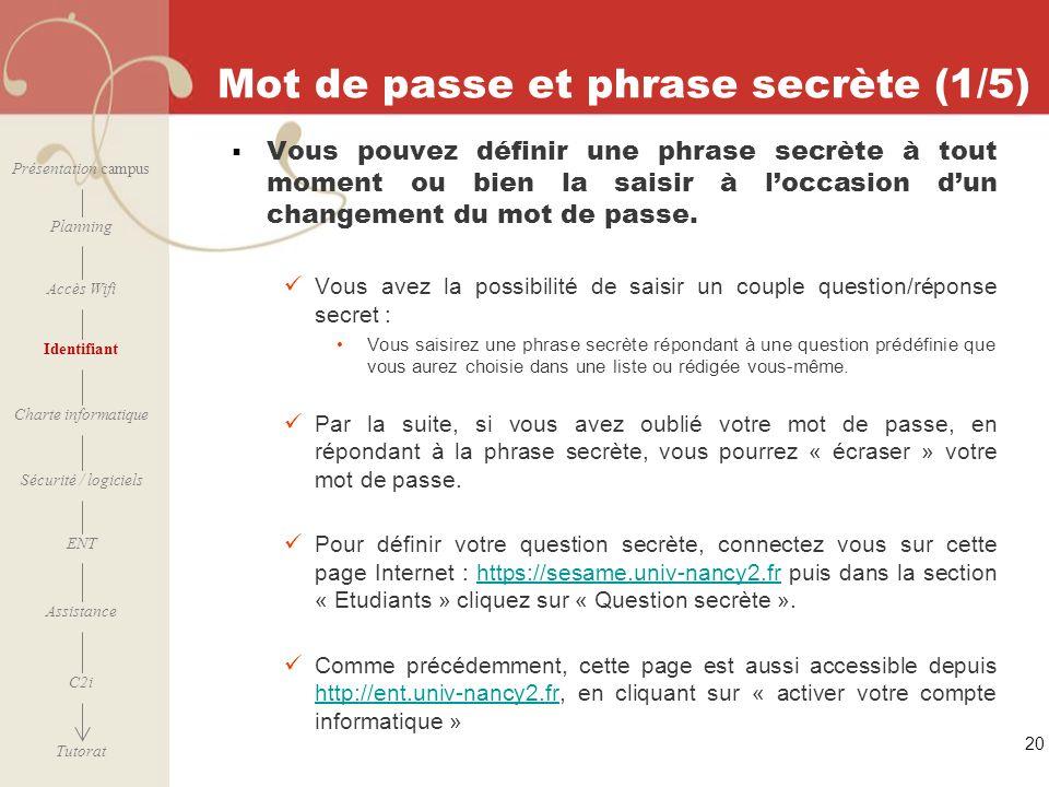 20 Mot de passe et phrase secrète (1/5) Vous pouvez définir une phrase secrète à tout moment ou bien la saisir à loccasion dun changement du mot de pa