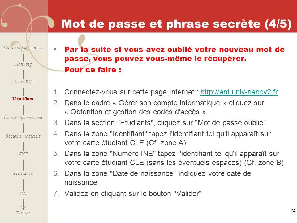 [ 2006 – 2007] 24 Mot de passe et phrase secrète (4/5) Par la suite si vous avez oublié votre nouveau mot de passe, vous pouvez vous-même le récupérer