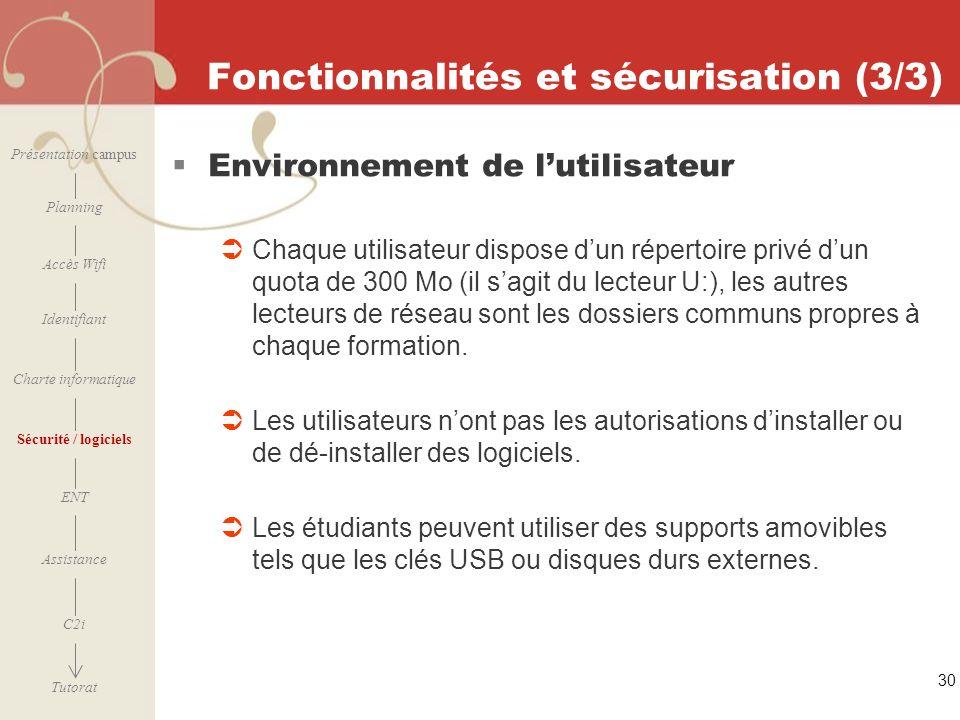[ 2006 – 2007] 30 Fonctionnalités et sécurisation (3/3) Environnement de lutilisateur Chaque utilisateur dispose dun répertoire privé dun quota de 300