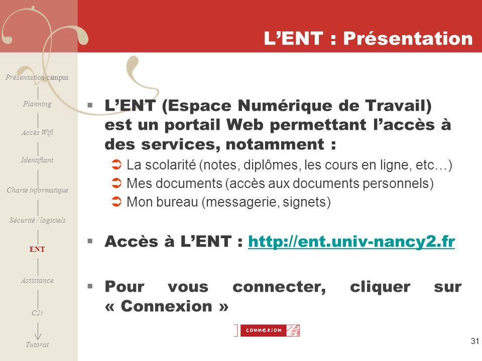 [ 2006 – 2007] 31 LENT : Présentation LENT (Espace Numérique de Travail) est un portail Web permettant laccès à des services, notamment : La scolarité