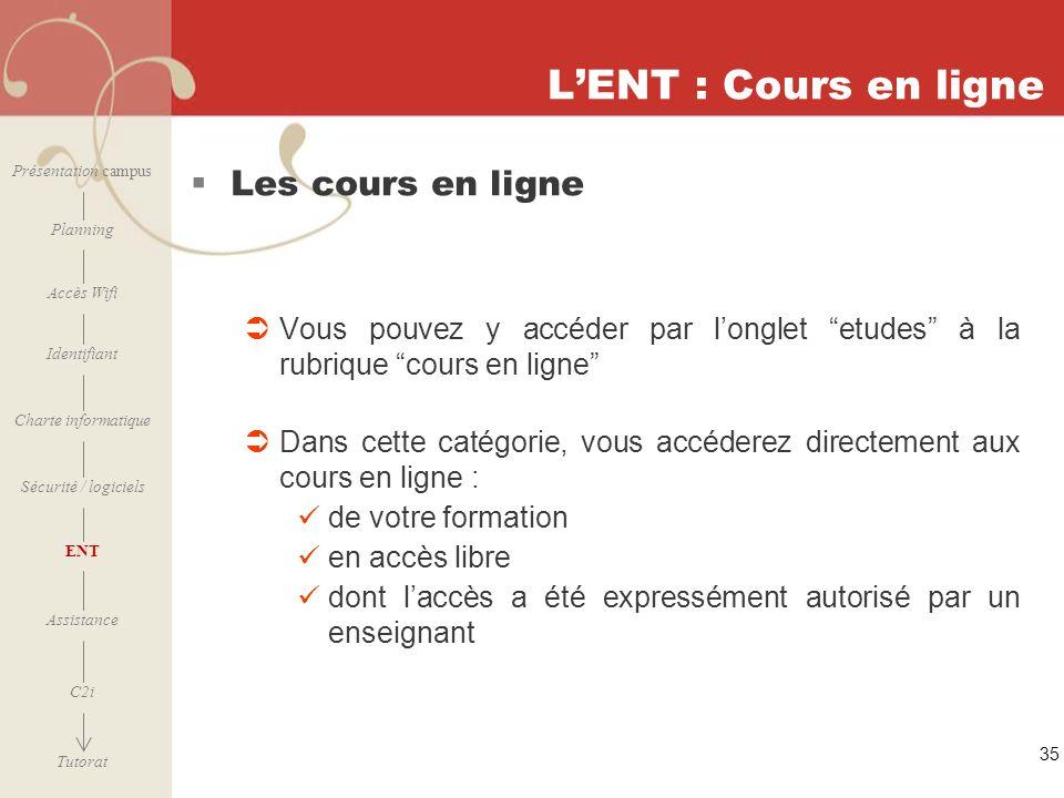 [ 2006 – 2007] 35 LENT : Cours en ligne Les cours en ligne Vous pouvez y accéder par longlet etudes à la rubrique cours en ligne Dans cette catégorie,