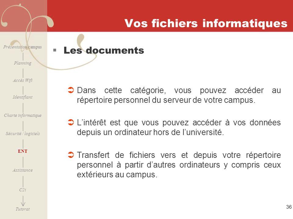 [ 2006 – 2007] 36 Vos fichiers informatiques Les documents Dans cette catégorie, vous pouvez accéder au répertoire personnel du serveur de votre campu