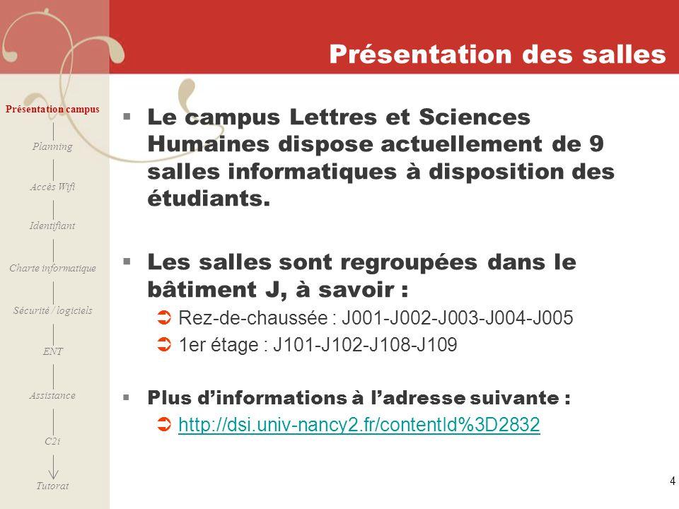 [ 2006 – 2007] 4 Présentation des salles Le campus Lettres et Sciences Humaines dispose actuellement de 9 salles informatiques à disposition des étudi