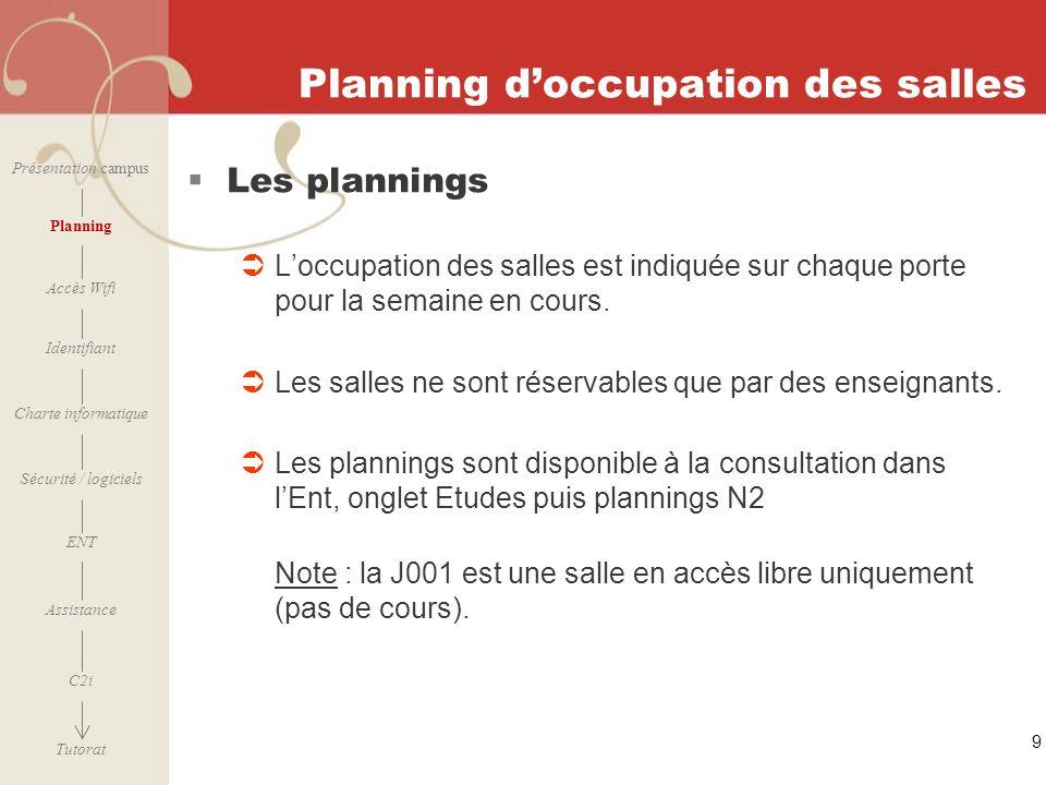 [ 2006 – 2007] 9 Planning doccupation des salles Les plannings Loccupation des salles est indiquée sur chaque porte pour la semaine en cours. Les sall
