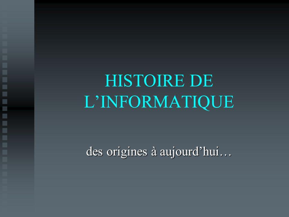 HISTOIRE DE LINFORMATIQUE des origines à aujourdhui…