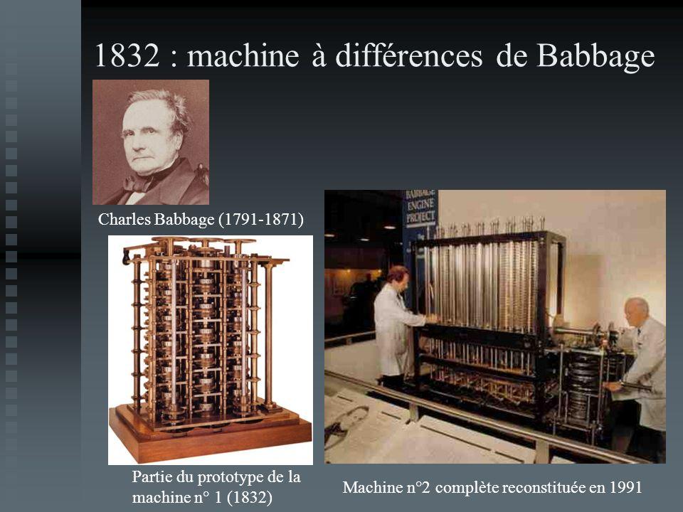 1832 : machine à différences de Babbage Partie du prototype de la machine n° 1 (1832) Machine n°2 complète reconstituée en 1991 Charles Babbage (1791-