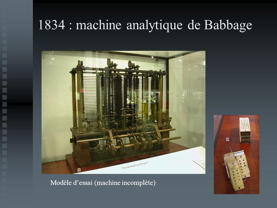 1834 : machine analytique de Babbage Modèle dessai (machine incomplète)