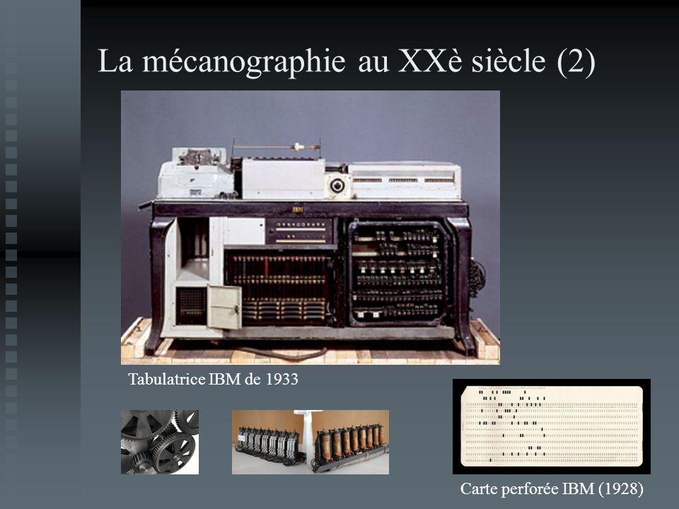 La mécanographie au XXè siècle (2) Tabulatrice IBM de 1933 Carte perforée IBM (1928)