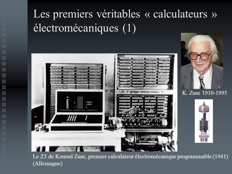 Les premiers véritables « calculateurs » électromécaniques (1) Le Z3 de Konrad Zuse, premier calculateur électromécanique programmable (1941) (Allemag