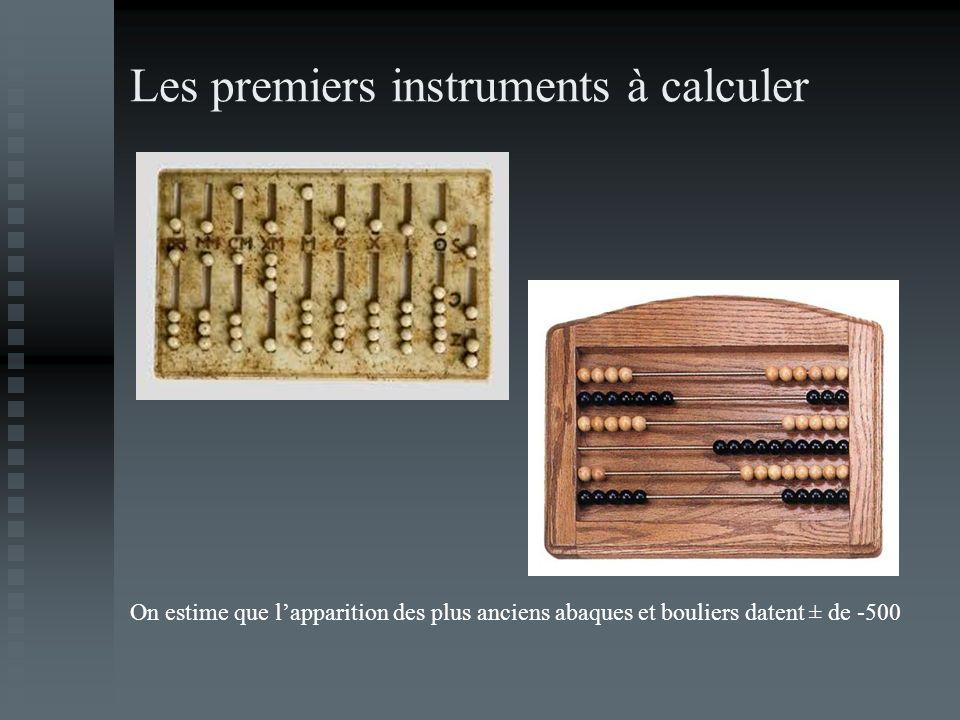 Les premiers instruments à calculer On estime que lapparition des plus anciens abaques et bouliers datent ± de -500