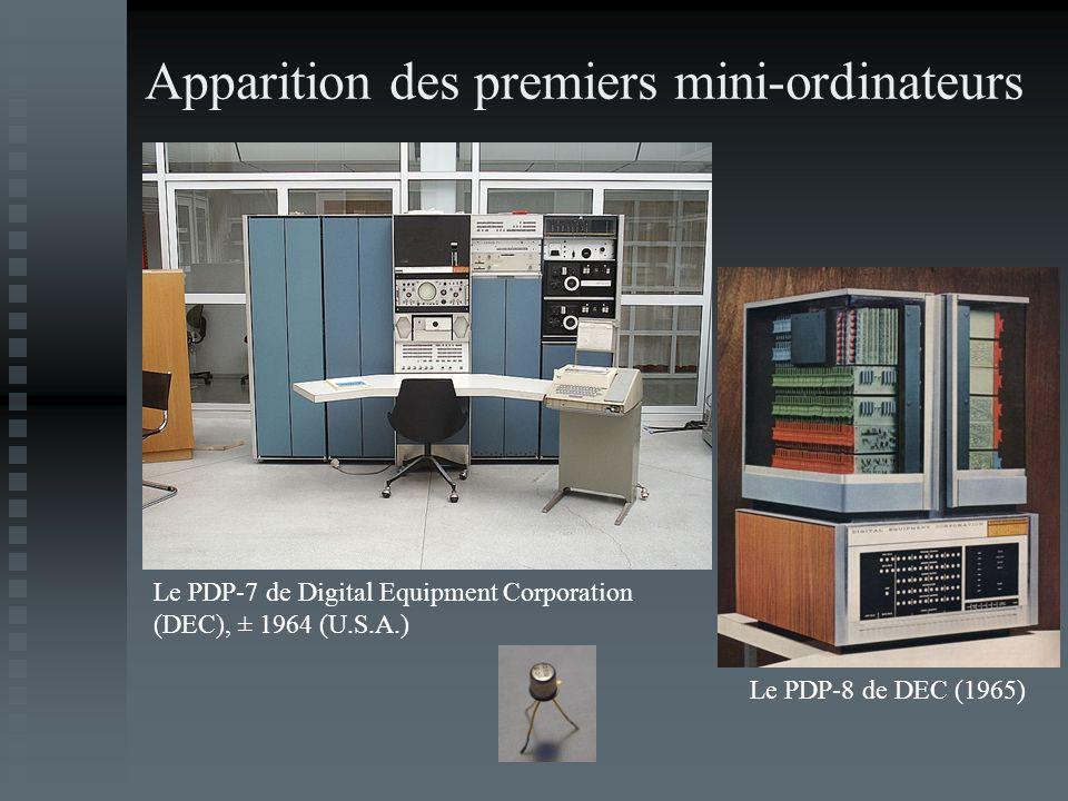 Apparition des premiers mini-ordinateurs Le PDP-7 de Digital Equipment Corporation (DEC), ± 1964 (U.S.A.) Le PDP-8 de DEC (1965)