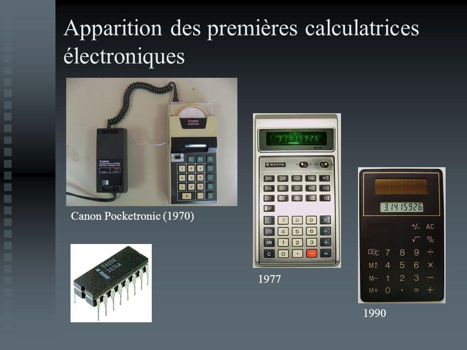Apparition des premières calculatrices électroniques Canon Pocketronic (1970) 1977 1990