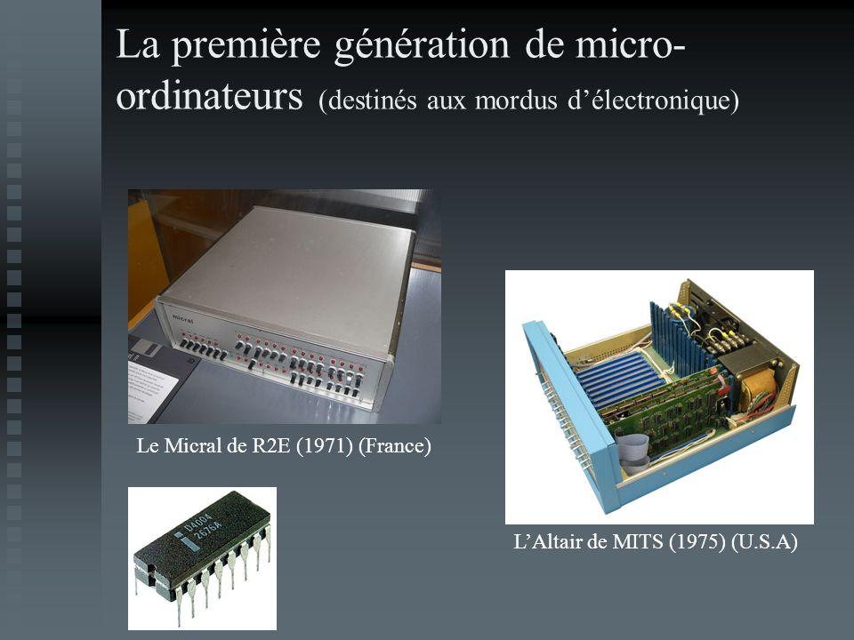 La première génération de micro- ordinateurs (destinés aux mordus délectronique) Le Micral de R2E (1971) (France) LAltair de MITS (1975) (U.S.A)