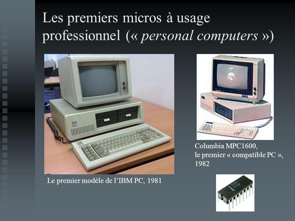 Les premiers micros à usage professionnel (« personal computers ») Le premier modèle de lIBM PC, 1981 Columbia MPC1600, le premier « compatible PC »,