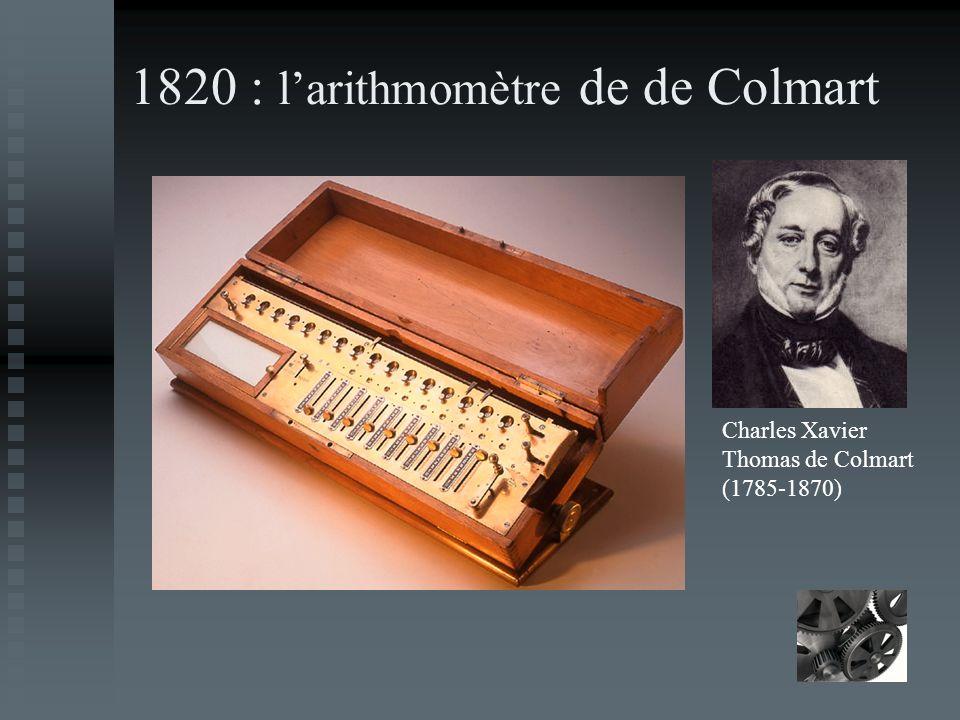 1820 : larithmomètre de de Colmart Charles Xavier Thomas de Colmart (1785-1870)