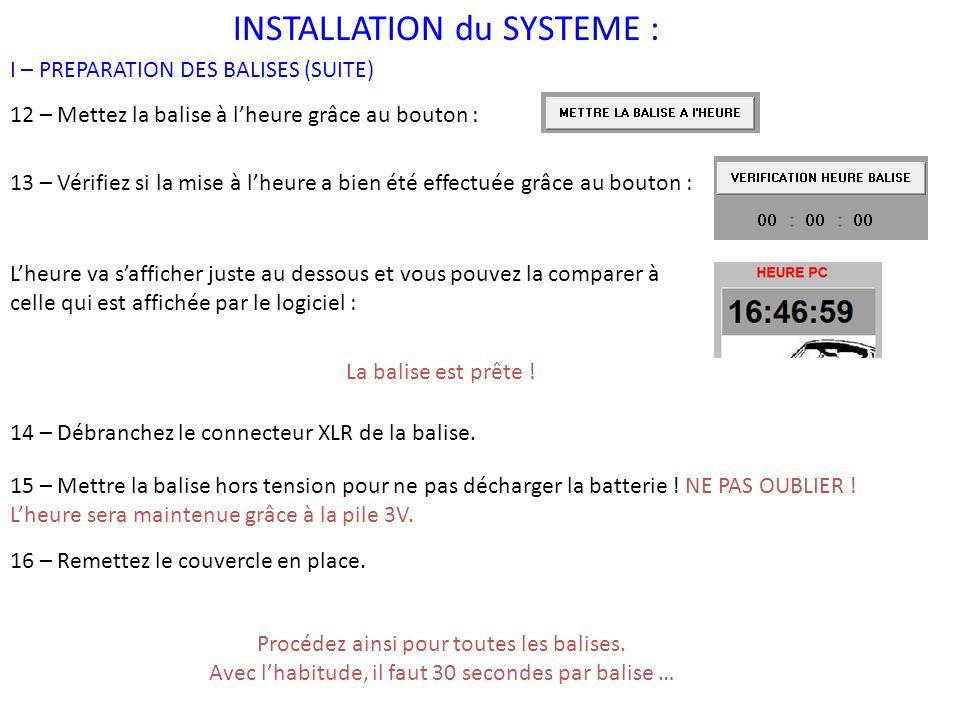 INSTALLATION du SYSTEME : II – POSE DES BALISES La pose des balises est PRIMORDIALE.