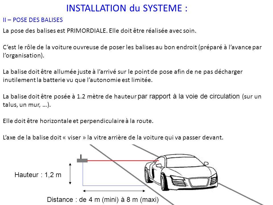 INSTALLATION du SYSTEME : II – POSE DES BALISES (SUITE) La balise doit être stable et ne pas bouger durant toute la durée de la prise des temps.