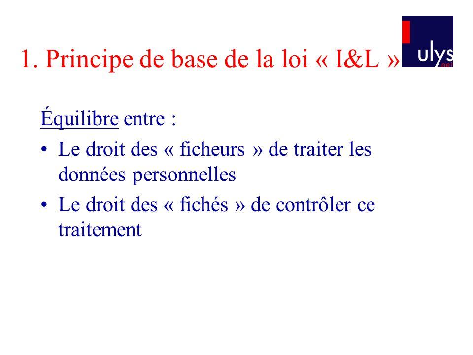 1. Principe de base de la loi « I&L » Équilibre entre : Le droit des « ficheurs » de traiter les données personnelles Le droit des « fichés » de contr