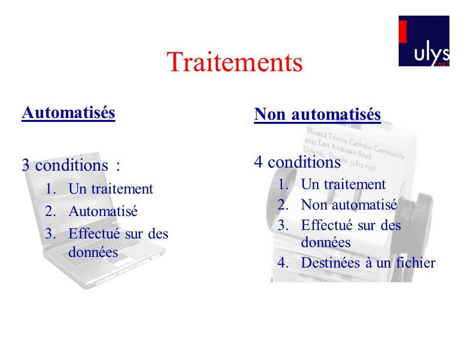 Traitements Automatisés 3 conditions : 1.Un traitement 2.Automatisé 3.Effectué sur des données Non automatisés 4 conditions 1.Un traitement 2.Non auto