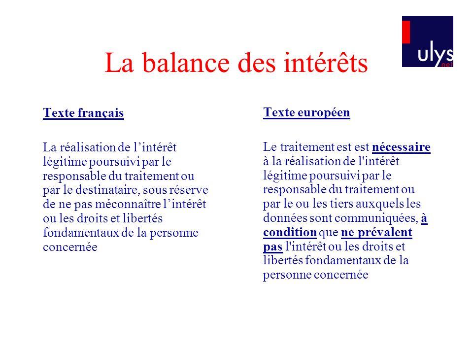 La balance des intérêts Texte français La réalisation de lintérêt légitime poursuivi par le responsable du traitement ou par le destinataire, sous rés