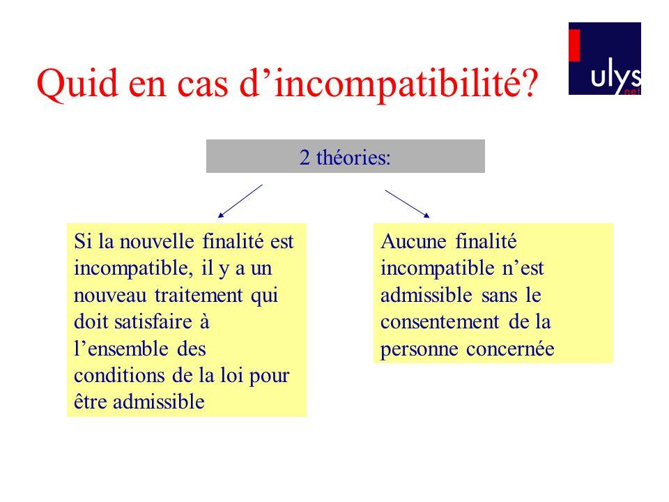 Quid en cas dincompatibilité? 2 théories: Si la nouvelle finalité est incompatible, il y a un nouveau traitement qui doit satisfaire à lensemble des c