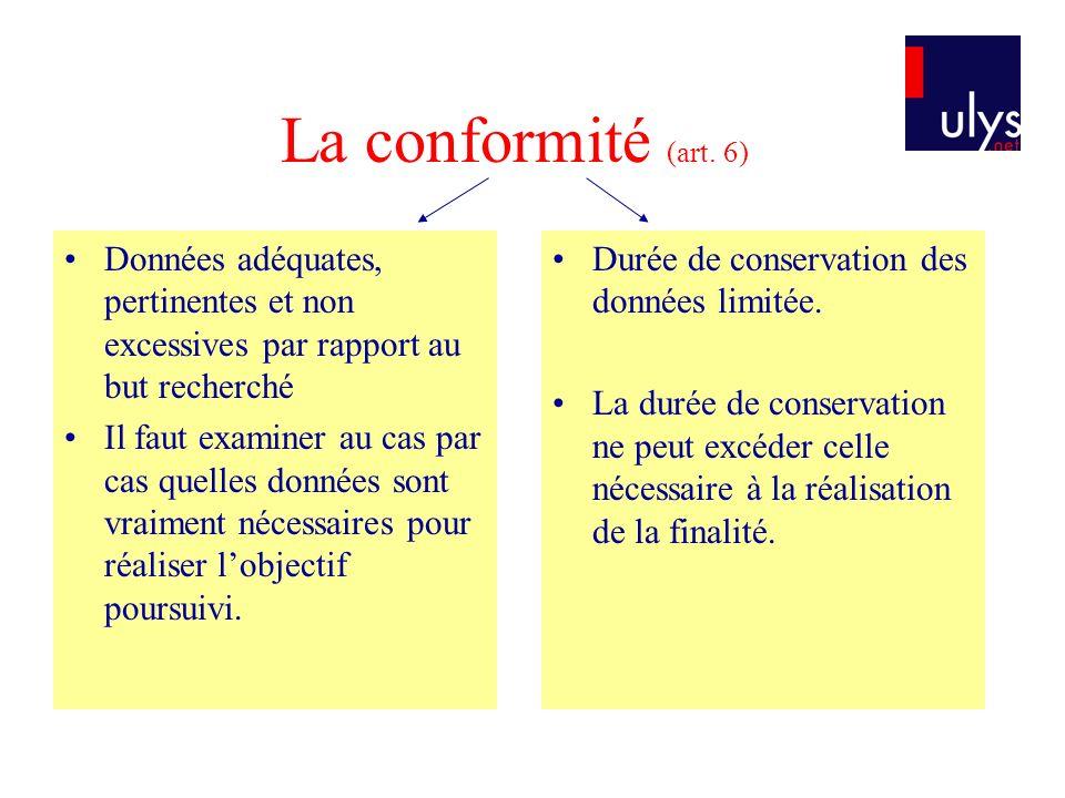 La conformité (art. 6) Données adéquates, pertinentes et non excessives par rapport au but recherché Il faut examiner au cas par cas quelles données s