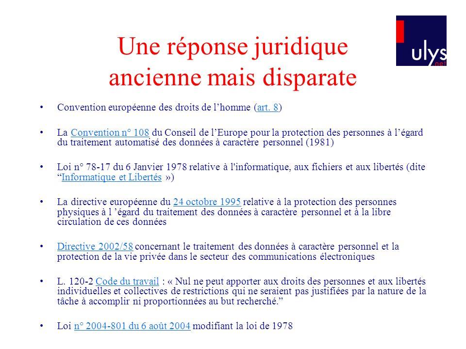 Une réponse juridique ancienne mais disparate Convention européenne des droits de lhomme (art. 8)art. 8 La Convention n° 108 du Conseil de lEurope pou