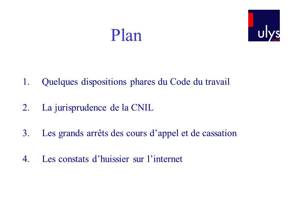 1.Quelques dispositions phares du Code du travail 2.La jurisprudence de la CNIL 3.Les grands arrêts des cours dappel et de cassation 4.Les constats dh