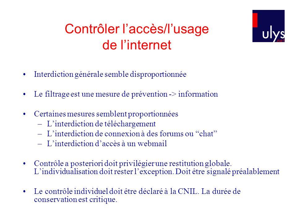 Contrôler laccès/lusage de linternet Interdiction générale semble disproportionnée Le filtrage est une mesure de prévention -> information Certaines m