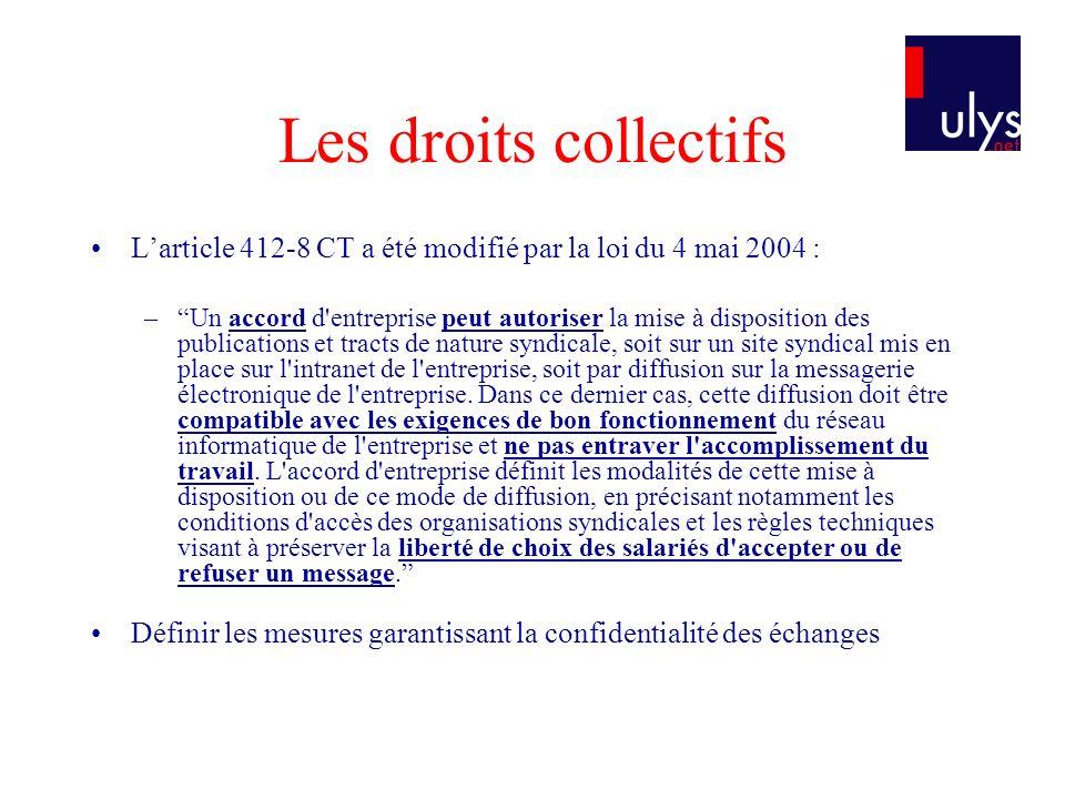 Larticle 412-8 CT a été modifié par la loi du 4 mai 2004 : –Un accord d'entreprise peut autoriser la mise à disposition des publications et tracts de