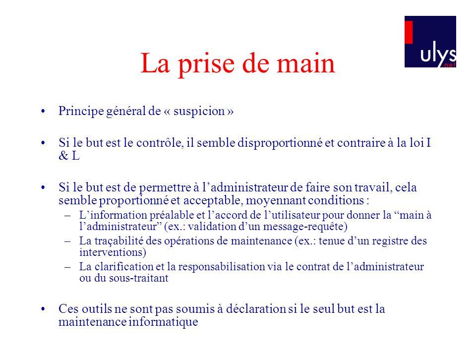 Principe général de « suspicion » Si le but est le contrôle, il semble disproportionné et contraire à la loi I & L Si le but est de permettre à ladmin