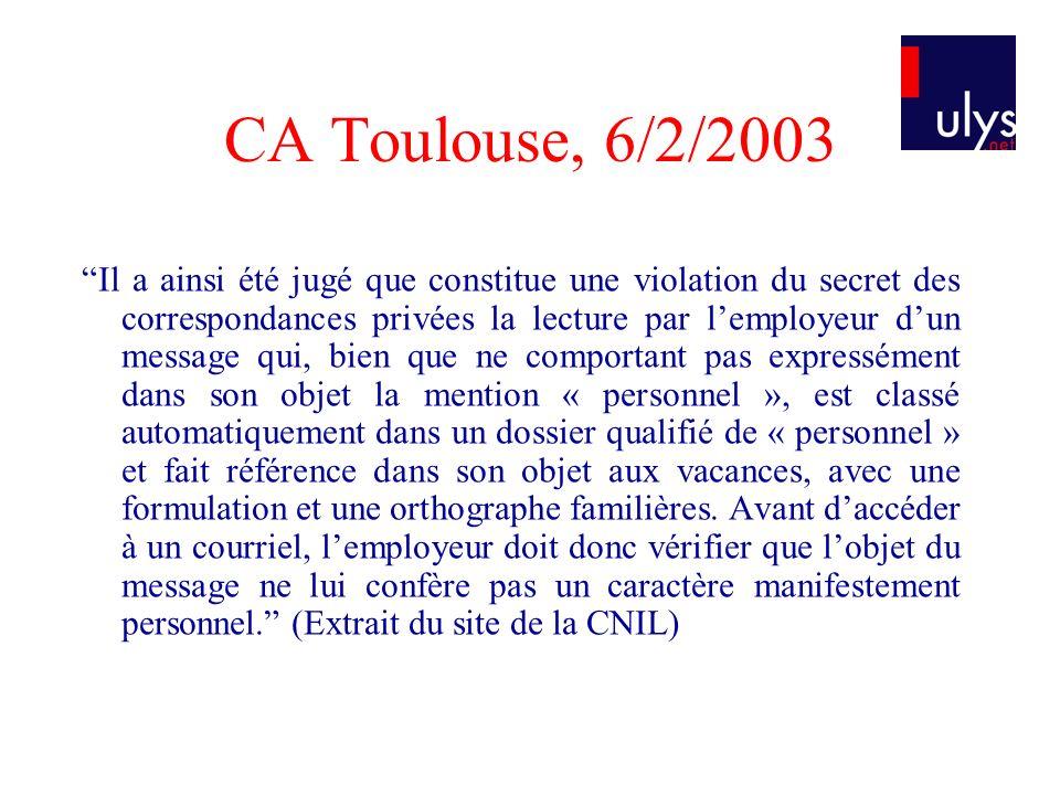 CA Toulouse, 6/2/2003 Il a ainsi été jugé que constitue une violation du secret des correspondances privées la lecture par lemployeur dun message qui,