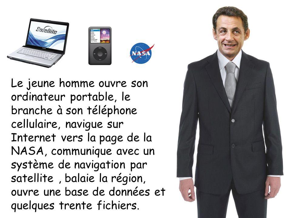 Le jeune homme ouvre son ordinateur portable, le branche à son téléphone cellulaire, navigue sur Internet vers la page de la NASA, communique avec un