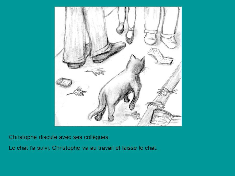 Christophe discute avec ses collègues. Le chat la suivi. Christophe va au travail et laisse le chat.