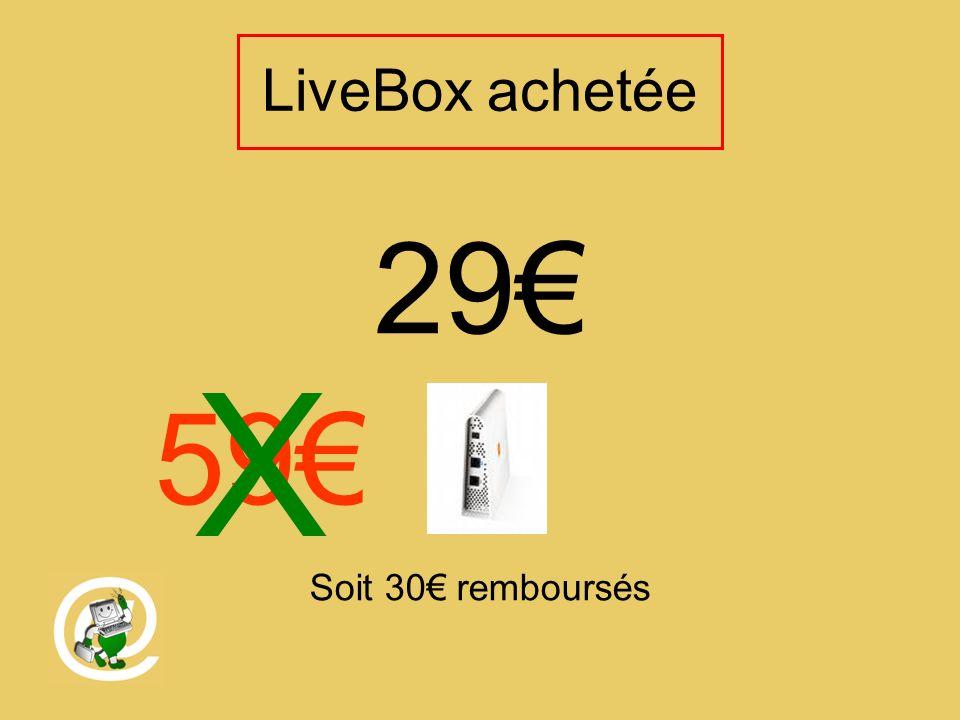 LiveBox achetée 29 Soit 30 remboursés 59 X