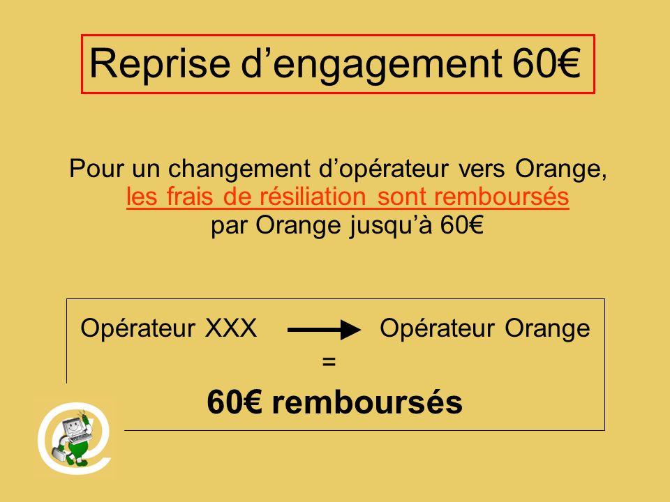 Reprise dengagement 60 Pour un changement dopérateur vers Orange, les frais de résiliation sont remboursés par Orange jusquà 60 Opérateur XXX Opérateur Orange = 60 remboursés