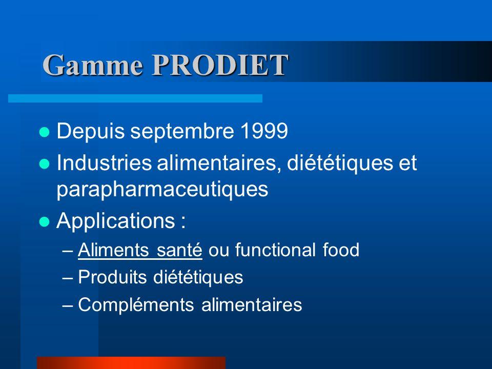 Gamme PRODIET Depuis septembre 1999 Industries alimentaires, diététiques et parapharmaceutiques Applications : –Aliments santé ou functional food –Produits diététiques –Compléments alimentaires