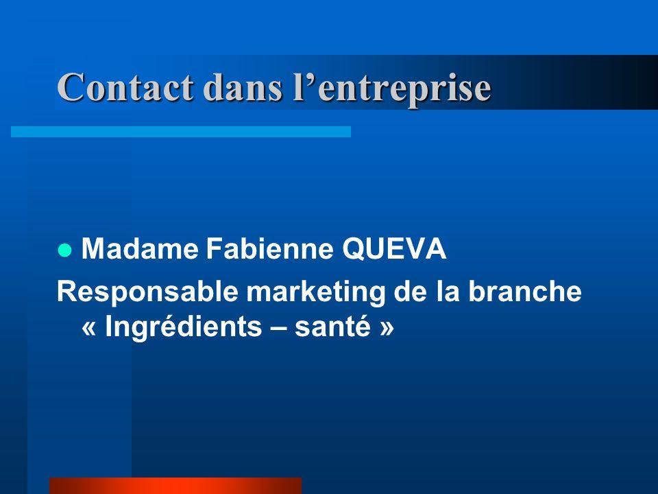 Contact dans lentreprise Madame Fabienne QUEVA Responsable marketing de la branche « Ingrédients – santé »