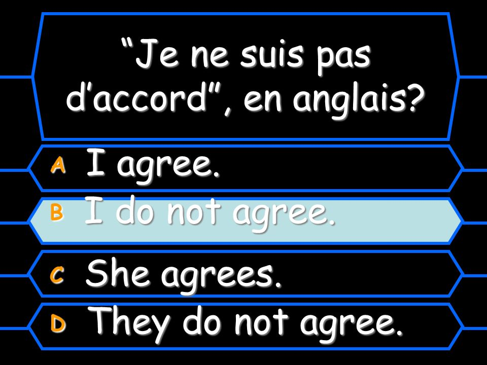 Je ne suis pas daccord, en anglais A I agree. B I do not agree. C She agrees. D They do not agree.