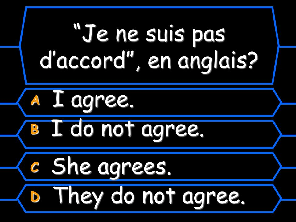 Je ne suis pas daccord, en anglais? A I agree. B I do not agree. C She agrees. D They do not agree.