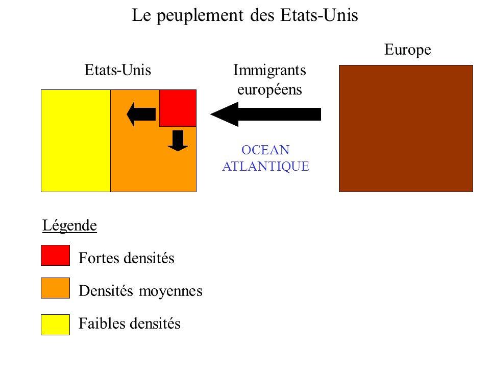 Etats-Unis Europe Immigrants européens Légende Fortes densités Densités moyennes Faibles densités OCEAN ATLANTIQUE Le peuplement des Etats-Unis