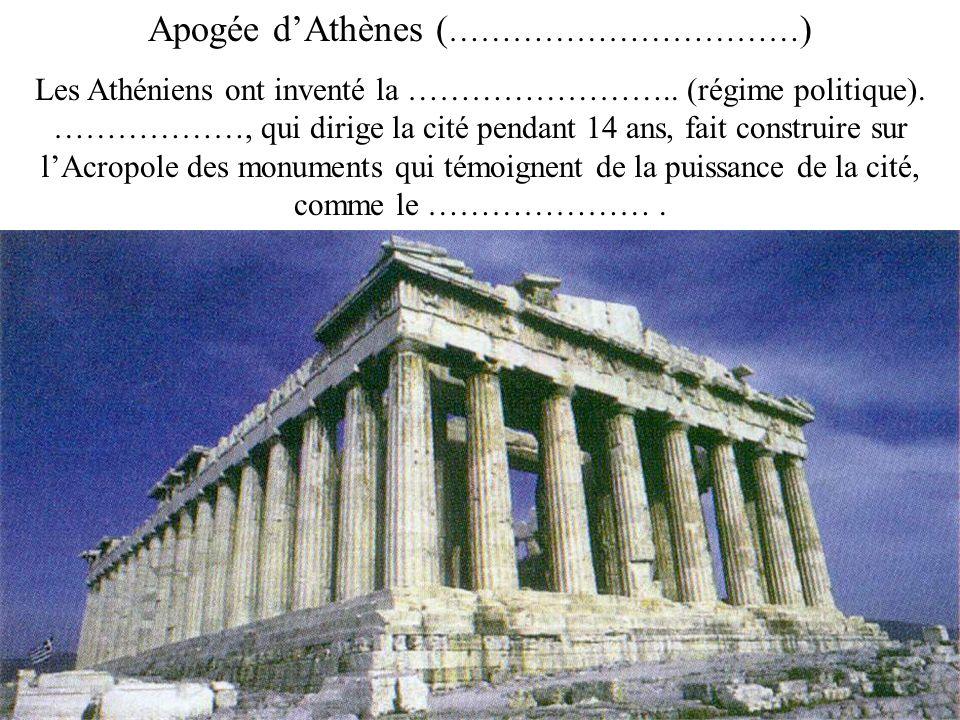 Apogée dAthènes ( …………………………… ) Les Athéniens ont inventé la …………………….. (régime politique). ………………, qui dirige la cité pendant 14 ans, fait construire