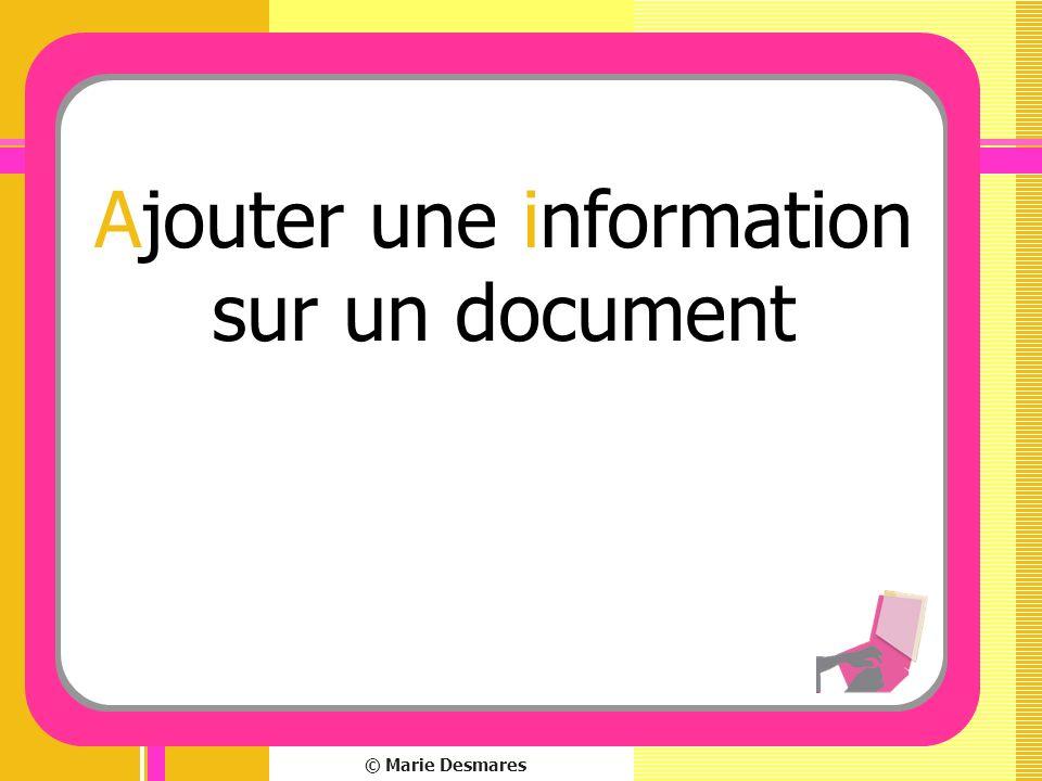 © Marie Desmares Ajouter une information sur un document