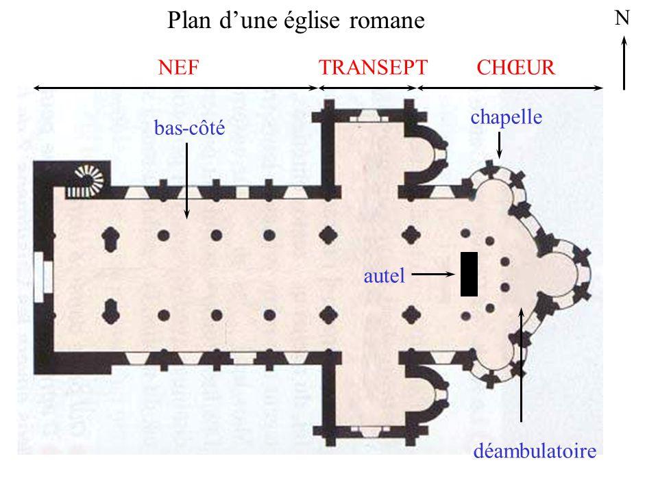 Plan dune église romane N bas-côté chapelle déambulatoire NEFTRANSEPTCHŒUR bas-côté autel chapelle déambulatoire NEFTRANSEPTCHŒUR