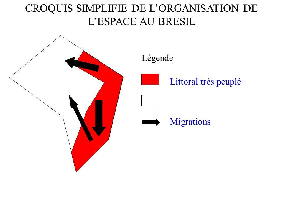 Légende CROQUIS SIMPLIFIE DE LORGANISATION DE LESPACE AU BRESIL Migrations Littoral très peuplé Vaste espace de réserve
